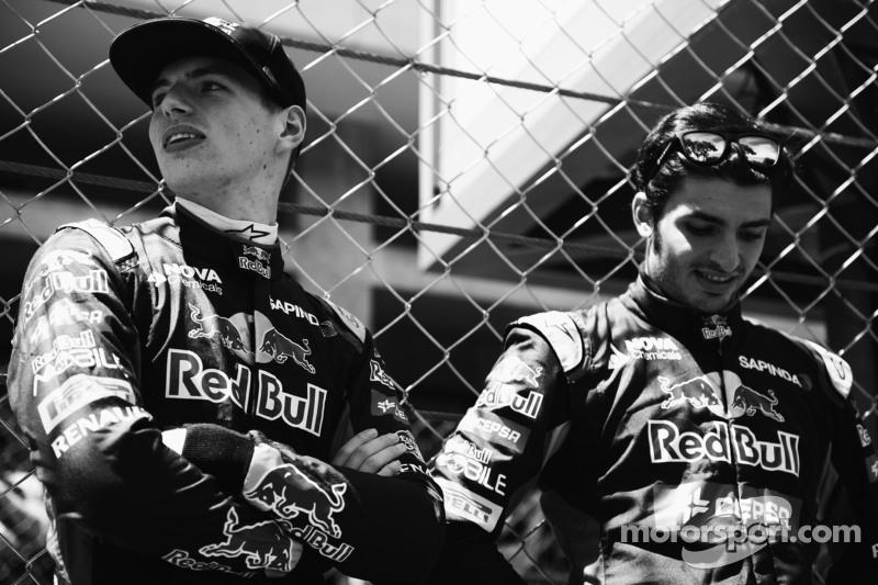 (De izquierda a derecha): Max Verstappen, Scuderia Toro Rosso con Carlos Sainz Jr., Scuderia Toro Rosso