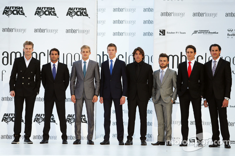 Drivers at the Amber Lounge Fashion Show: Nico Hulkenberg, Sahara Force India F1; Felipe Nasr, Sauber F1 Team; Marcus Ericsson, Sauber F1 Team; Daniil Kvyat, Red Bull Racing; Roberto Merhi, Manor F1 Team; Will Stevens, Manor F1 Team; Esteban Gutierrez, Fe