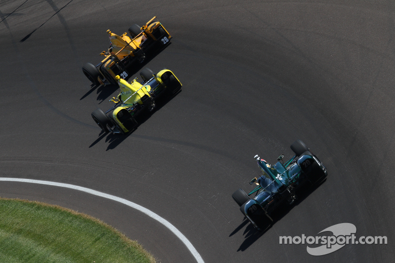 Ryan Hunter-Reay, Andretti Autosport Honda and Sage Karam, Chip Ganassi Racing Chevrolet and Ed Carp