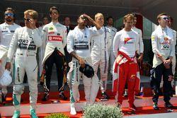 Нико Росберг, Mercedes AMG F1; Льюис Хэмилтон, Mercedes AMG F1; Себастьян Феттель, Ferrari; Даниил К