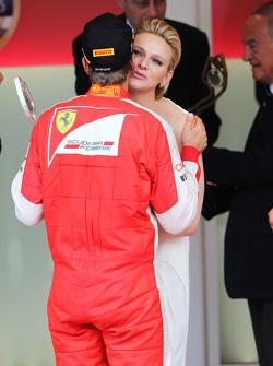 Sebastian Vettel, Ferrari merayakan raihan peringkat keduanya di podium