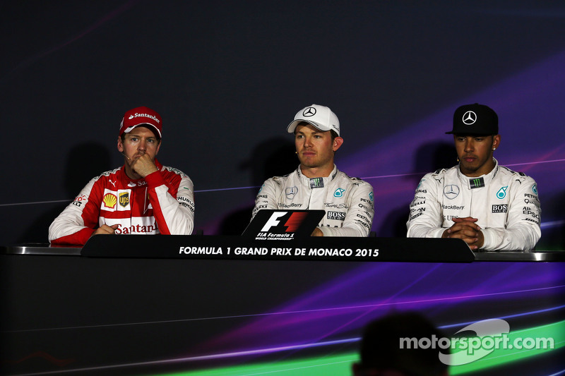 FIA Press Conference,: Sebastian Vettel, Ferrari, second; Nico Rosberg, Mercedes AMG F1, race winner