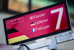 Pit board for #7 Audi Sport Team Joest Audi R18 e-tron quattro