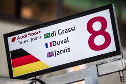 Pit board for #8 Audi Sport Team Joest Audi R18 e-tron quattro