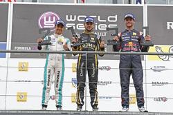 Podium: race winner Matthieu Vaxivière, second place Jazeman Jaafar, third place Dean Stoneman