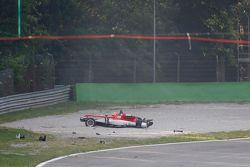 Lance Stroll, Prema Powerteam Dallara Mercedes-Benz após capotar