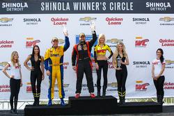 GTA podium: Race winner Henrique Cisnero, second place Bret Curtis