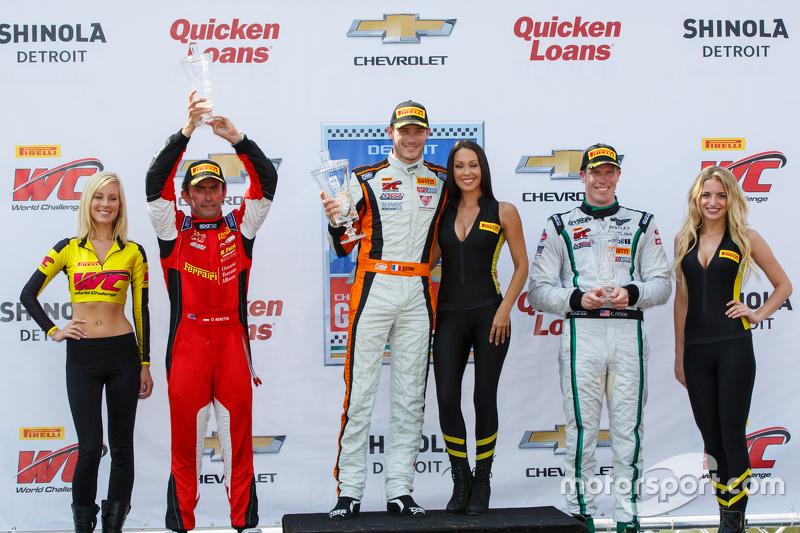 GT podium: Race winner Kevin Estre, second place Olivier Beretta, third place Chris Dyson