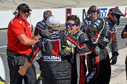 The Roush Fenway Racing crew celebrates Buescher's win