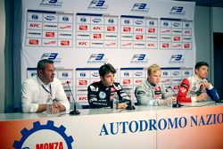 Press conference: race director Nils Wittich, third place Charles Leclerc, Van Amersfoort Racing and winner Felix Rosenqvist and second place Jake Dennis, Prema Powerteam