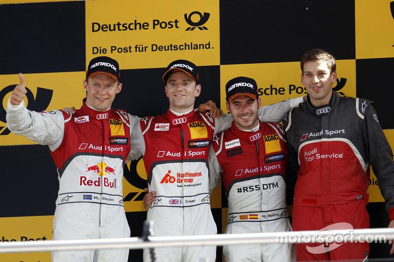 Podium: 2nd Mattias Ekström, Audi Sport Team Abt Sportsline, Audi A5 DTM, 1st Jamie Green, Audi Spor