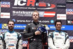 Primera posición Kevin Gleason, Honda Civic TCR, West Coast Racing, segunda posición, Stefano Comini