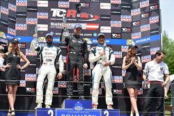 1st position Kevin Gleason, Honda Civic TCR, West Coast Racing, 2nd position Stefano Comini, SEAT Leon, Target Competition and 3rd position Andrea Belicchi, SEAT Leon, Target Competition