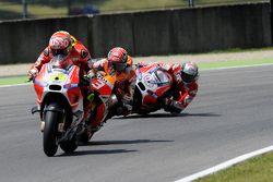 Andrea Iannone, Ducati Team; Marc Marquez, Repsol Honda Team, und Andrea Dovizioso, Ducati Team