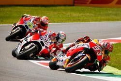 Marc Marquez, Repsol Honda Team, Andrea Dovizioso et Andrea Iannone, Ducati Team