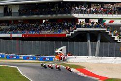 Marc Marquez, Repsol Honda Team, Andrea Iannone, Ducati Team, Dani Pedrosa, Repsol Honda Team, et Valentino Rossi, Yamaha Factory Racing