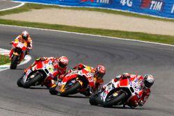 Andrea Dovizioso, Ducati Team, Marc Marquez, Repsol Honda Team, Andrea Iannone, Ducati Team, et Dani Pedrosa, Repsol Honda Team