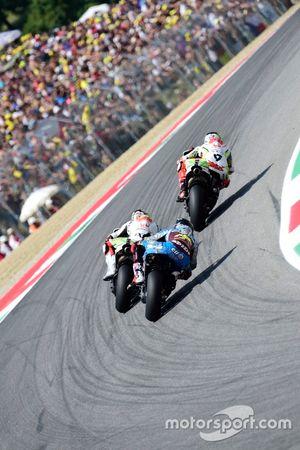 Danilo Petrucci y Yonny Hernández, Pramac Racing Ducatis con Scott Redding, Marc VDS Racing Honda