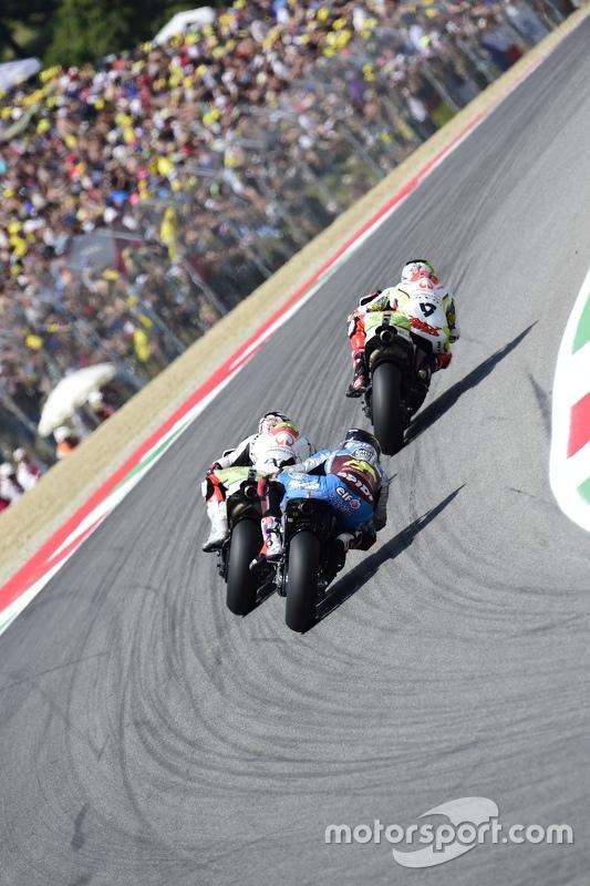 Danilo Petrucci en Yonny Hernandez, Pramac Racing Ducatis en Scott Redding, Marc VDS Racing Honda