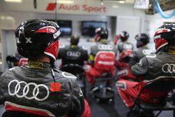 Audi Sport mechanics watch the race action
