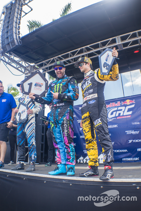 Podium: winner Ken Block, second place Scott Speed, third place Nelson Piquet Jr.