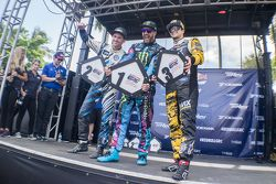Podium : le vainqueur Ken Block, le deuxième, Scott Speed, le troisième, Nelson Piquet Jr.