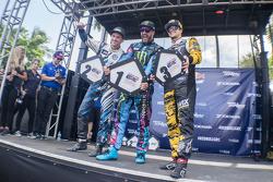 Podium: winner Ken Block, second place Scott Speed, third place Nelson Piquet Jr.