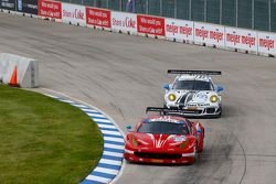#63 Scuderia Corsa Ferrari 458 Italia: Bill Sweedler, Townsend Bell and #22 Alex Job Racing Porsche