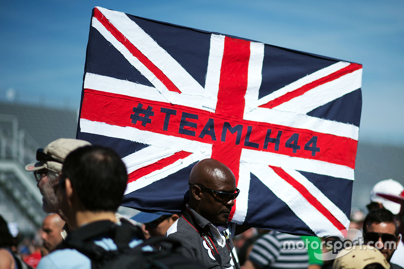 A flag for Lewis Hamilton, Mercedes AMG F1