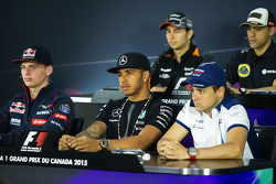 Max Verstappen, Scuderia Toro Rosso; Lewis Hamilton, Mercedes AMG F1; and Felipe Massa, Williams in the FIA Press Conference