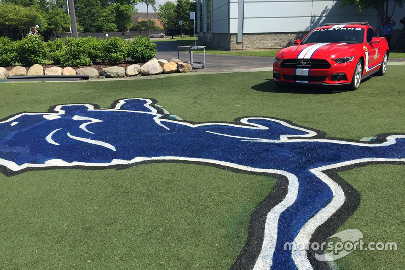 Michigan 400 pace car at Detroit Lions practice