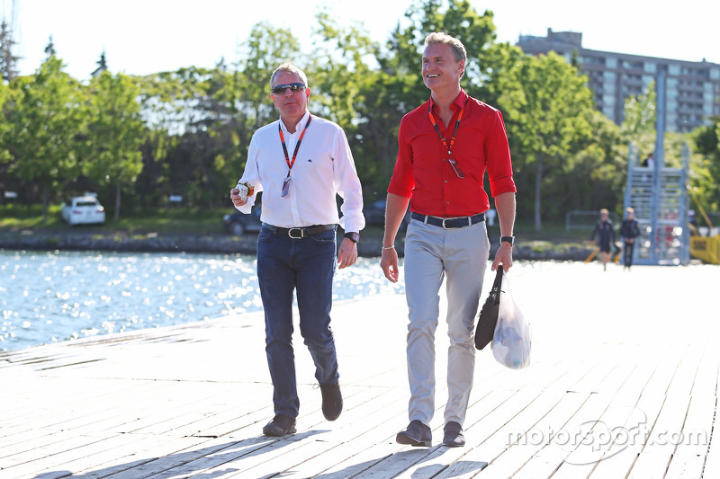 Martin Brundle, Sky-Experte, mit David Coulthard, Berater Red Bull Racing und Scuderia Toro / BBC-Experte