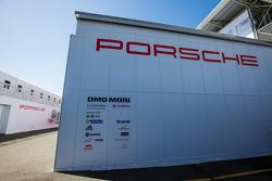 Porsche Team paddock area transporter and logo / signage