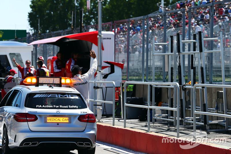 Lewis Hamilton, Mercedes AMG F1 celebrates his pole position in the FIA Medical Car