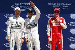 Qualifying, Top 3 im Parc Fermé: Nico Rosberg, Mercedes AMG F1; Pole-Sitter: Lewis Hamilton, Mercede