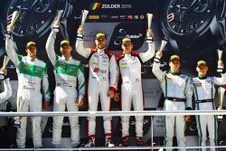 Podium: race winners Robin Frijns, Laurens Vanthoor, second place Marco Seefried, Norbert Siedler, third place Vincent Abril, Maximilian Buhk