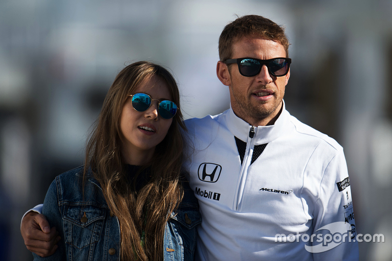 Jenson Button, McLaren bersama his wife Jessica Button