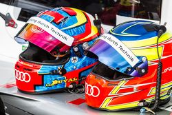 #8 Audi Sport Team Joest Audi R18 e-tron quattro: helmets of Loic Duval and Oliver Jarvis