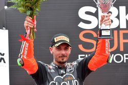 Davide Giugliano, Ducati Superbike Team, auf dem Podium in Portimao