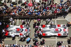 #8 Audi Sport Team Joest Audi R18 e-tron quattro and #9 Audi Sport Team Joest Audi R18 e-tron quattro