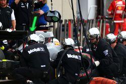 Fernando Alonso, McLaren MP4-30 faz pit stop