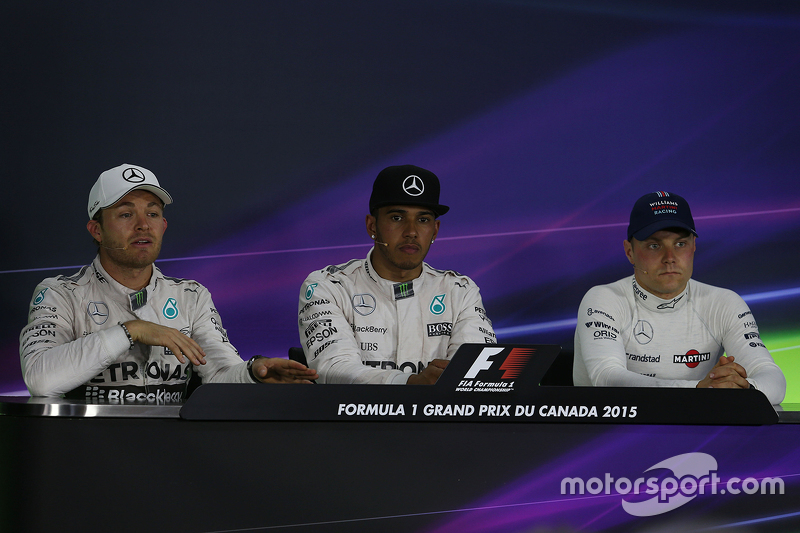 Race winner Lewis Hamilton, Mercedes, second place Nico Rosberg, Mercedes and third place Valtteri Bottas, Williams