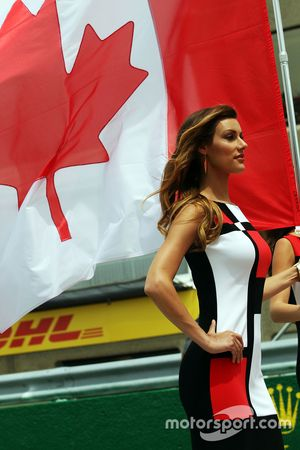 Grid girl with the Canadian flag