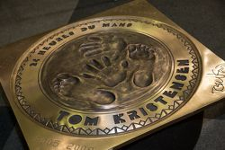 Tom Kristensen unveils his hand and foot print plaque
