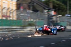 Sparks fly behind the #21 Nissan Motorsports Nissan GT-R LM NISMO: Tsugio Matsuda, Lucas Ordonez, Ma