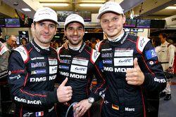 Polesitters Romain Dumas, Neel Jani, Marc Lieb, Porsche Team
