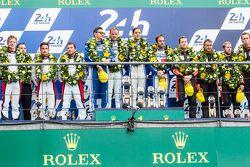 LMP2 podium: class winners #47 KCMG ORECA 05: Matthew Howson, Richard Bradley, Nicolas Lapierre, second place #38 Jota Sport Gibson 015S: Simon Dolan, Mitch Evans, Oliver Turvey, third place #26 G-Drive Racing Ligier JS P2: Roman Rusinov, Julien Canal, Sa