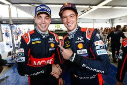Third place Thierry Neuville and second place Hayden Paddon