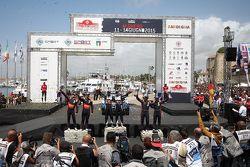 Podium: los ganadores, Sébastien Ogier y Julien Ingrassia, Volkswagen Polo WRC, Volkswagen Motorspor