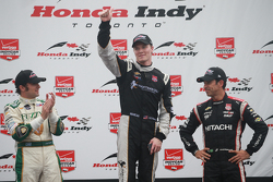 Podium: Race winner Josef Newgarden, CFH Racing Chevrolet, second place Luca Filippi, CFH Racing Chevrolet and third place Helio Castroneves, Team Penske Chevrolet
